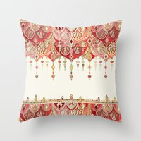 Royal Red Art Deco Doubl… Throw Pillow