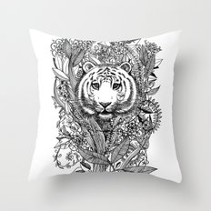 Tiger Tangle In Black An… Throw Pillow