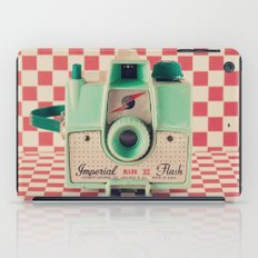 Mint Retro Camera on Red Chequered Background  iPad Case