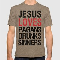 Jesus Loves Pagans, Drun… Mens Fitted Tee Tri-Coffee SMALL