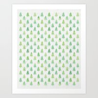 Simple Pine Tree Forest Pattern Art Print