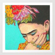 FRIDA KAHLO THINKS  Art Print