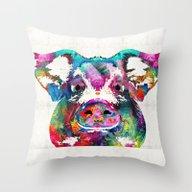 Colorful Pig Art - Squea… Throw Pillow