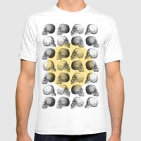 Skulls Pattern Mens Fitted Tee White SMALL