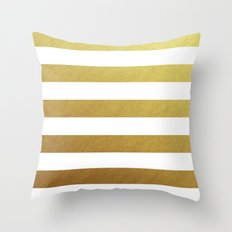 gold stripes Throw Pillow