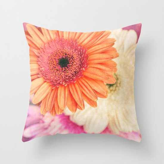Sweet Daisy Sorbet Throw Pillow