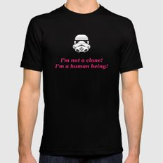 I'm not a clone! I'm a human being! SMALL Black Mens Fitted Tee