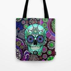 Sugar Skull Sombrero Night - Purple and Green Paisley Skull Art Tote Bag