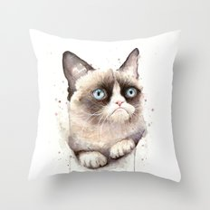 Grumpy Watercolor Cat Throw Pillow