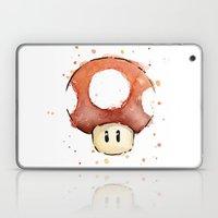 Red Mushroom Watercolor Laptop & iPad Skin