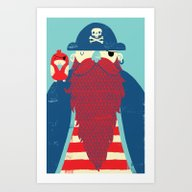 Art Print featuring Old Captain Redbeard by Monster Riot