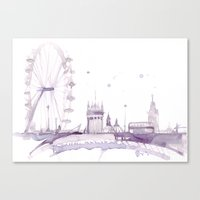Watercolor landscape illustration_London Eye Canvas Print