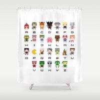 Video Games Pixel Alphabet Shower Curtain