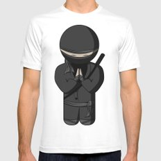 Ninja Bow Mens Fitted Tee White SMALL