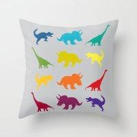 Dino Parade 2 Throw Pillow