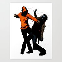 Zombie Fist Fight! Art Print