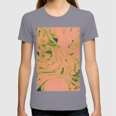 Marble Art V3 #society6 #decor #buyart Womens Fitted Tee Slate SMALL