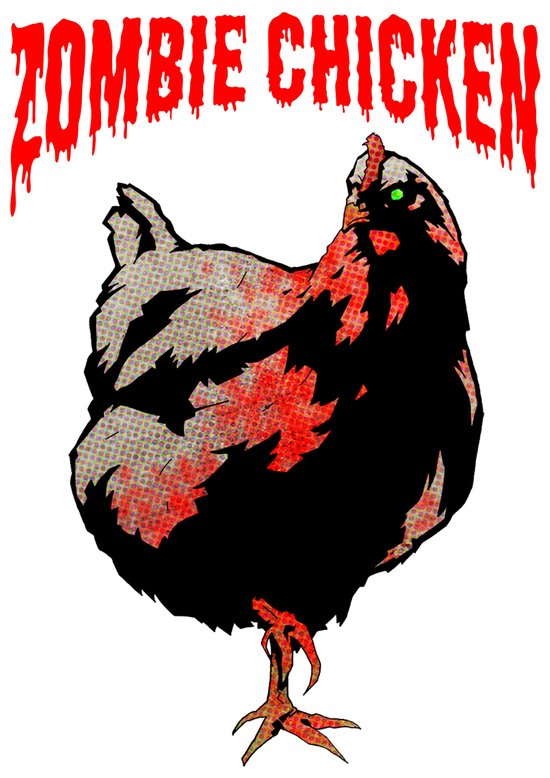 All Fear The Zombie Chicken! Art Print
