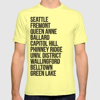 SEATTLE CITIES Mens Fitted Tee Lemon SMALL