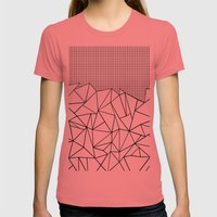 Abstract Outline Grid Bl… Womens Fitted Tee Pomegranate SMALL