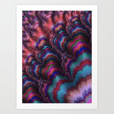 Multicolored Feathered Fractal Art Print