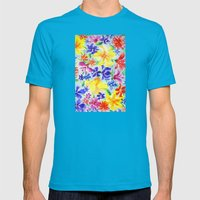 Flowers Mens Fitted Tee Teal SMALL