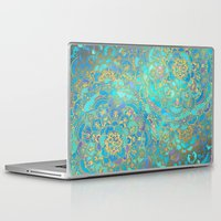 watercolor Laptop & iPad Skins featuring Sapphire & Jade Stained Glass Mandalas by micklyn