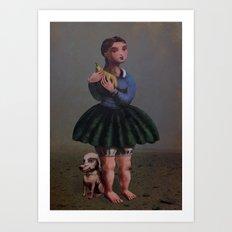 Girl with Giant Birne Art Print