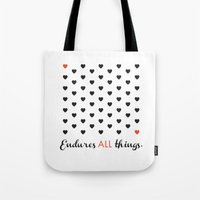 Love Endures All (Blk/Red) Tote Bag