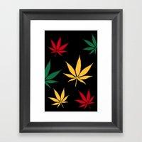 Rasta Color Leaves Framed Art Print