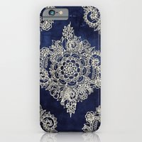 mandala iPhone & iPod Cases featuring Cream Floral Moroccan Pattern on Deep Indigo Ink by micklyn