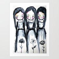 3 girls black and white Art Print