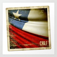 Chile Grunge Sticker Fla… Art Print