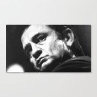 8-bit Johnny Cash Canvas Print