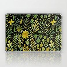 Green watercolor flowers Laptop & iPad Skin