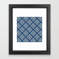 Blue Diamond Tiles Framed Art Print