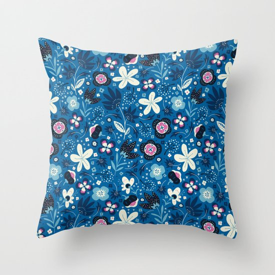 Blue Meadow Throw Pillow