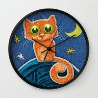 Fabric Cat Wall Clock