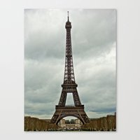 Eiffel Tower On A Cloudy… Canvas Print