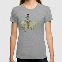 A Boy and his Dinosaur Womens Fitted Tee Tri-Grey SMALL