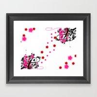 Neon Flower Framed Art Print