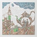 4 o'clock tea London Map Canvas Print