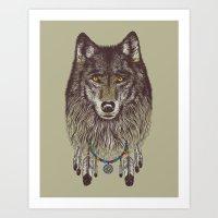 wolf Art Prints featuring Wind Catcher Wolf by Rachel Caldwell