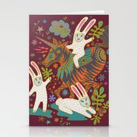 Three Rabbits and a Unicorn Stationery Cards