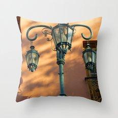 Street Lights of La Boca IV Throw Pillow