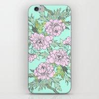 Mint Flowers iPhone & iPod Skin