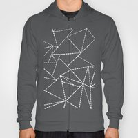 Abstract Dotted Lines White on Black Hoody