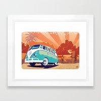 VW Kombi retro surf illustration Framed Art Print