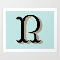 R Letter Art Print