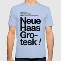 Helvetica Neue / Neue Ha… Mens Fitted Tee Tri-Blue SMALL